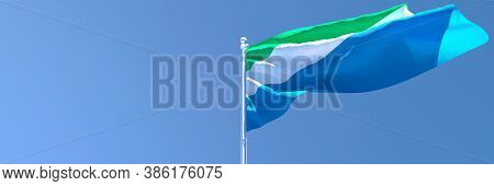 3d Rendering Of The National Flag Of Sierra Leone Waving In The Wind
