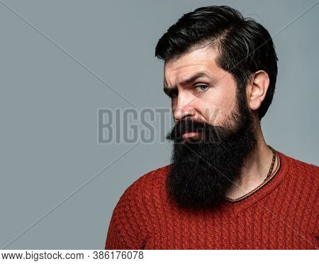 Portrait Of Confident Serious Man Has Beard And Mustache, Looks Seriously, Isolated On Gray. Hipster