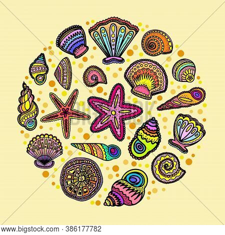 Bright Decorative Sea Shells Composition Illustrated. Stylized Black Outlines Of Sea Life. Round Com