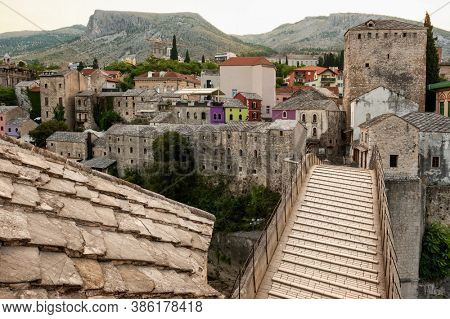 Stari Most bridge top view in old town of Mostar, Bosnia and Herzegovina