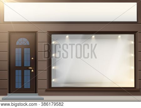 Shop Facade Exterior With Signbord And Big Glass Storefront. Facade Of Granite Wall And Big Window.