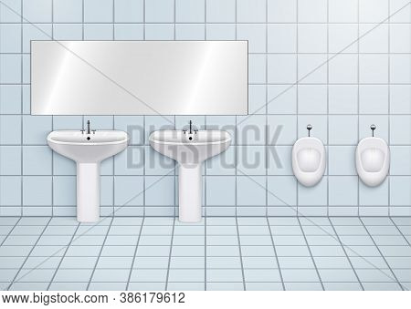 Wc Washroom With White Porcelain Sink And Urinals. Public Restroom Interior With Ceramic Washbasins