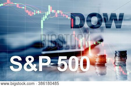 American Stock Market. Sp500 And Dow Jones. Financial Trading Business Concept.