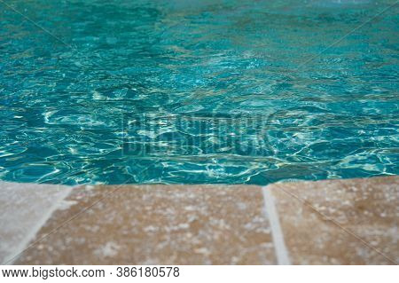 Open Swimming Pool Edge, Water And Beige Marble Texture. Vacation, Holiday. Ripple Water. Water Colo