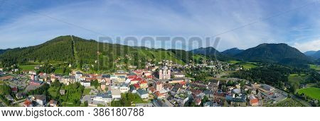 Mariazell, The Most Important Pilgrimage Destination In Austria. Panorama View To The Basilica Mariä