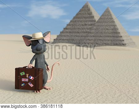 3d Rendering Of A Cute Cartoon Mouse Holding A Travel Suitcase, Wearing Sunglasses And A Hat, Lookin