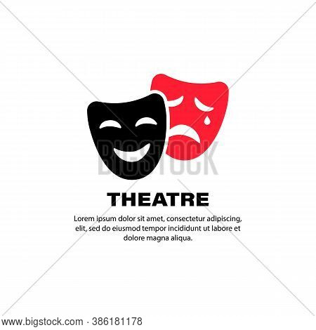 Theatre Icon. Comedy And Tragedy Theater Masks. Vector On Isolated White Background. Eps 10