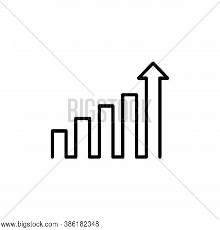 Growing Graph Icon In Black. Chart With An Upward Trend Arrow. Economy Concept. Vector On Isolated W