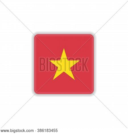 Vietnam National Flag Flat Icon, Vector Sign, Flag Of Vietnam Colorful Pictogram Isolated On White.