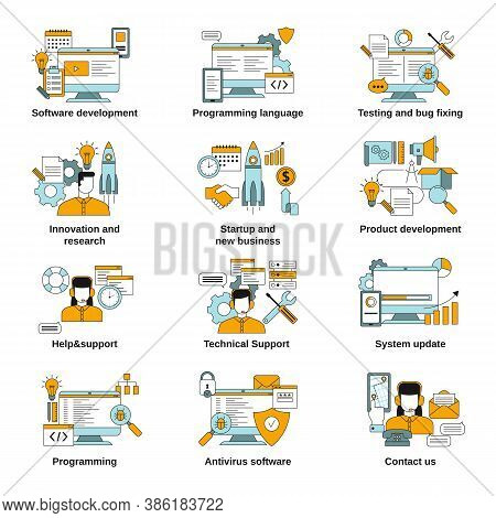 Software Development And Programming Related Icons. Vector Illustration.