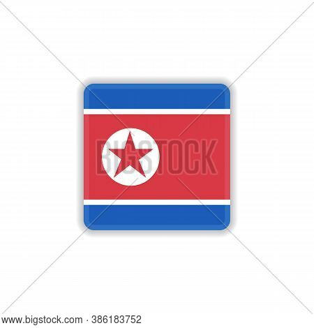 North Korea National Flag Flat Icon, Vector Sign, Flag Of North Korea Colorful Pictogram Isolated On