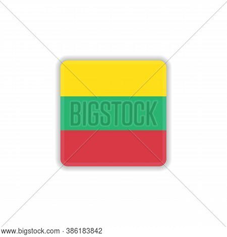 Lithuania National Flag Flat Icon, Vector Sign, Official Flag Of Lithuania Colorful Pictogram Isolat
