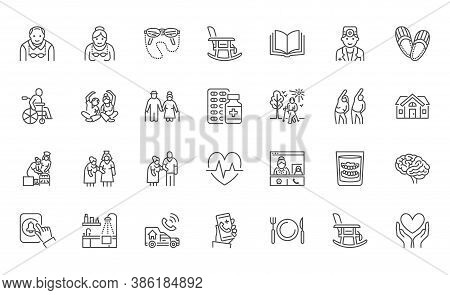 Senior People Flat Line Icons Set. Old Man And Woman Exercising, Active Grandparents, Wheelchair, Al