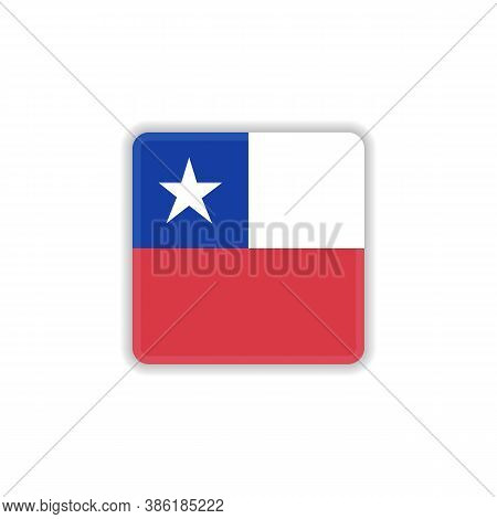 Chile National Flag Flat Icon, Vector Sign, Official Flag Of Chile Colorful Pictogram Isolated On Wh