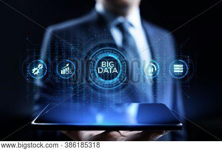 Big Data Analytics Technology Internet Technology Concept. Businessman Pressing Button On Virtual Sc