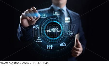 Cloud Computing Networking And Internet Concept On Screen.