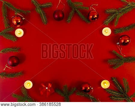 Christmas Card, Banner, Flatlay With Copy Space On A Red Background