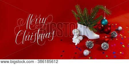 Christmas Card, Banner, Flatlay With Text - Merry Christmas On A Red Background