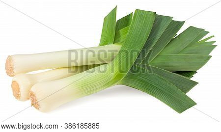 Leek Isolated On White Background. With Clipping Path. Full Depth Of Field