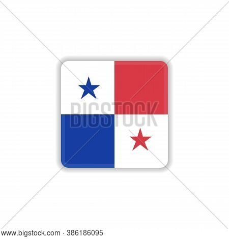 Panama Flag Flat Icon, Vector Sign, Official Flag Of Panama Colorful Pictogram Isolated On White. Sy