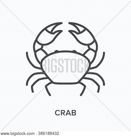 Crab Flat Line Icon. Vector Outline Illustration Of Lobster With Claw, Sea Animal. Seafood Thin Line