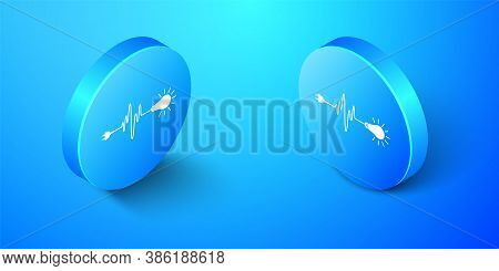Isometric Wire Plug And Light Bulb Icon Isolated On Blue Background. Plug, Lamp And Cord In The Form