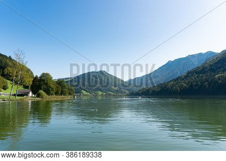 Lunzer See In The Ybbstal Alps. View To The Idyllic Lake In Lower Austria.