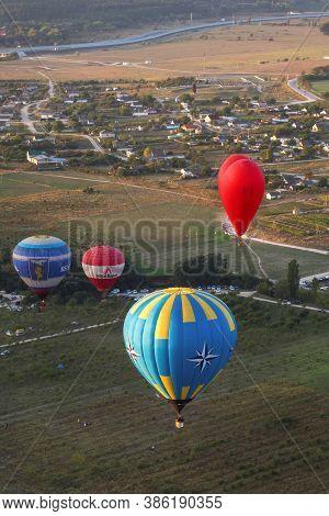 Belogorsk, Crimea, Russia-september 19, 2020: Belaya Skala (ak-kaya) Aeronautics Festival. Balloons