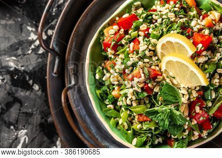Tabbouleh Salad Closeup, Part Of Middle Eastern Meze. Top View