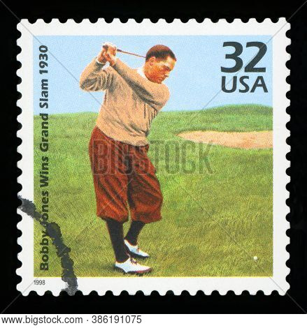 United States Of America - Circa 1998: A Stamp Printed In Usa Showing An Image Of Bobby Jones, Wins