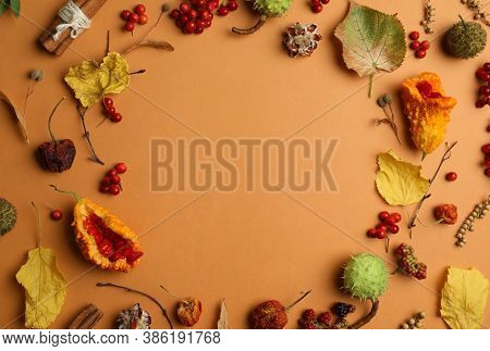 Dried Flowers, Leaves And Berries Arranged In Shape Of Wreath On Brown Background, Flat Lay With Spa