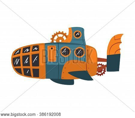 Ancient Steampunk Submarine, Antique Mechanical Device Or Mechanism, Stylized Cartoon Style Vector I