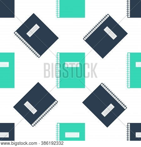 Green Notebook Icon Isolated Seamless Pattern On White Background. Spiral Notepad Icon. School Noteb