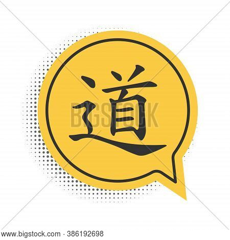 Black Chinese Calligraphy, Translation Dao, Tao, Taoism Icon Isolated On White Background. Yellow Sp