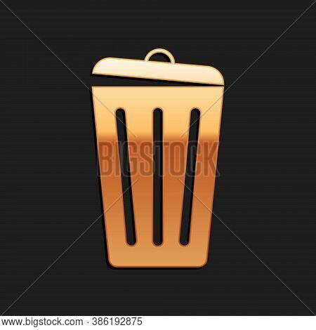 Gold Trash Can Icon Isolated On Black Background. Garbage Bin Sign. Recycle Basket Icon. Office Tras