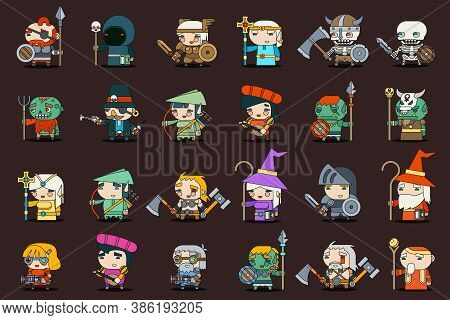 Fantasy Rpg Game Heroes Villains Minions Character Vector Outline Icons Set Flat Design Vector Illus