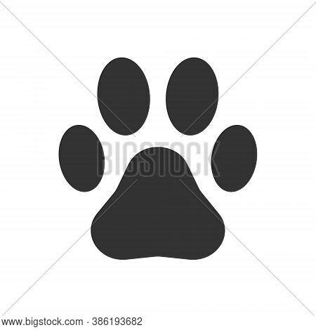 Animal Paw Print Vector Icon. Dog Footprint Trail Sign. Pet Foot Shape Mark Symbol. Petshop Store Or