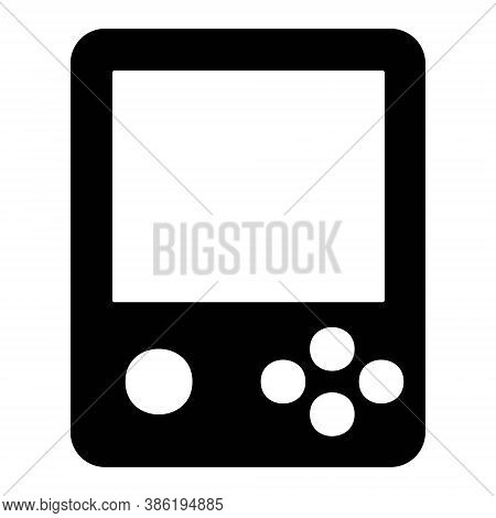 Vintage Portable Game Console, Tetris Icon Illustration. Retro Gamepad, Game Controller Sign.