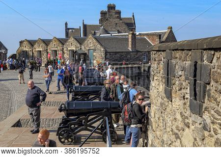 Edinburgh, Great Britain - September 10, 2014: This Is An Artillery Battery On The Walls Of Edinburg