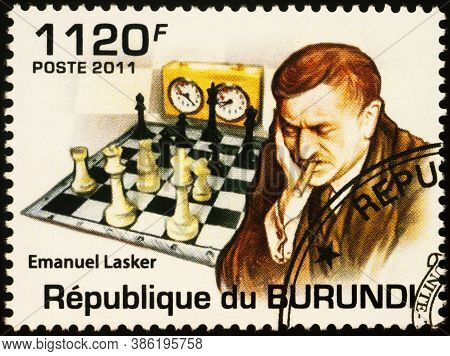 Moscow, Russia - September 19, 2020: Stamp Printed In Burundi Shows Portrait Of Emanuel Lasker (1868