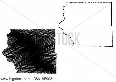 Fremont County, Iowa (u.s. County, United States Of America, Usa, U.s., Us) Map Vector Illustration,