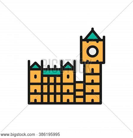 Big Ben, Historic Building With Clock In London, England Flat Color Line Icon.