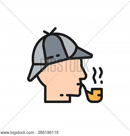 Detective, Sherlock Holmes With Smoking Pipe Flat Color Line Icon.