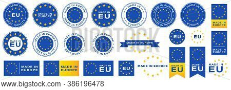 Labeling - Made In Europe. Flat Icon Isolated On White Background. Blue Stamp With Yellow Stars. Vec