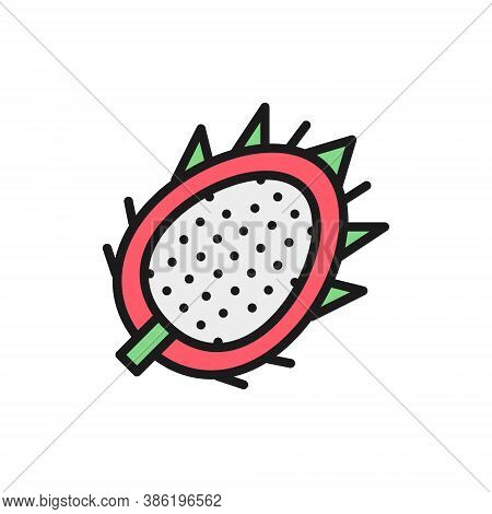 Tropical Dragon Fruit, Pitahaya, Pitaya Flat Color Line Icon.