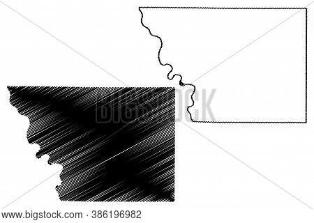 Monona County, Iowa (u.s. County, United States Of America, Usa, U.s., Us) Map Vector Illustration,