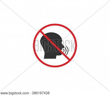 No Talking, Quiet, Silence Icon. Vector Illustration, Flat Design.