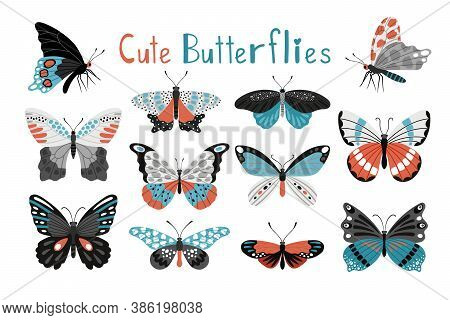 Colorful Butterfly Icon Set. Cartoon Elegant Butterflies And Moth, Stylized Multicolor Papillons Of