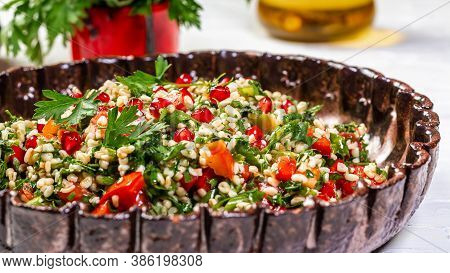 Salad With Bulgur And Vegetables, Tabbouleh, Middle Eastern Or Arab Dishes And Assorted Meze And Sna