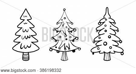 Winter, New Year And Christmas Outline Illustrations Of Trees.vector Set With Three Christmas Trees